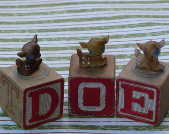 3 vintage blocks and 3 cute deer