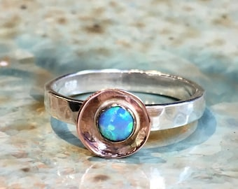 Opal Ring, stacking ring, hammered silver gold ring, two tones ring, alternative engagement ring, boho birthstone ring - Delicate R2491