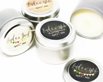 125 Wedding Favors Soy Candles in 2 Oz.Travel Tin with Rustic Personalized Label