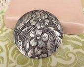 Vintage Aluminum Etched flower and leaf Finding. Large Pendant, Drop, Dogwood Flower Aluminum Finding. Upcycle Necklace Charm