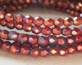 Czech chestnut, copper 4mm round faceted glass beads, lot of (50) - RQ138