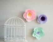 fabric wall flower, girls room or nursery decor, flower wall decor, baby shower decor. reserved for Goosechick