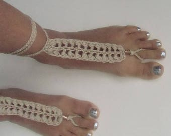 Crochet Barefoot Sandals, Beaded Bobble Khaki, Beach Wedding Barefoot, Beachwear Barefoot, Summerwear Poolside Barefoot