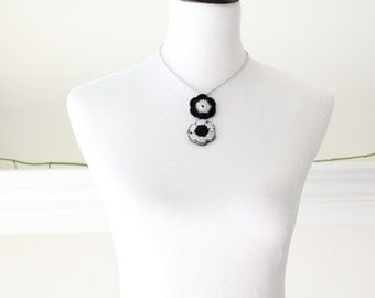 Crochrted Silver and Black Necklace