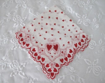 Vintage Valentines Day Handkerchief, Ladies Cotton Linen Hankie/Tea Napkin with Red Hearts, Ribbons, Double Scallop Edge, ECS, FREE Shipping