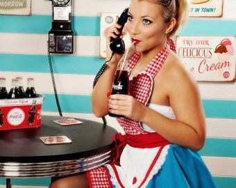 Ready to Ship Dots Diner Retro 50s Diner Waitress Apron Teal and Red in Stock