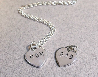"""Personalized Silver Heart stamped """"MOM"""", """"DAD"""", Sterling Silver Necklace"""