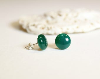Green Agate Gemstone,  Sterling Silver Earrings, 10mm Stud Earrings, Birthday Gift, Mother's Day Gift