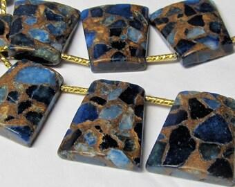 Jasper Beads 27 x 24mm Natural Royal Blue Jasper Cloisonne Flat Trapezoid Pendants -  4 Pieces
