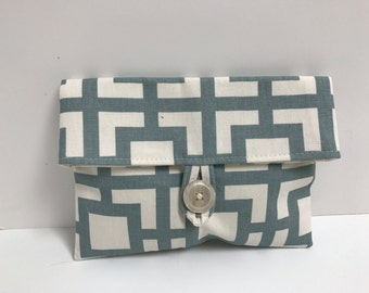 Blue/Gray and Cream Makeup Bag