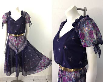 Vintage 1970s Sheer Dress Romantic Floral Print Dress