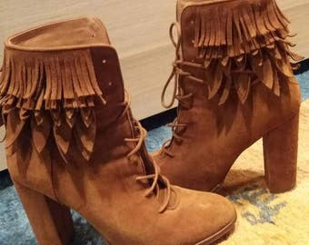 Boots high heeled luxury brand boots ~ leather suède fringes  ~ brown boots ~EUROPE size 39 ~ US 8,5 ~ made in Spain Europe   boots costume
