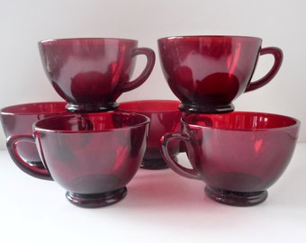 Vintage Ruby Red Glass Punch Cups Set of Six Anchor Hocking