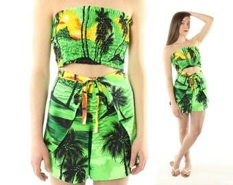 Vintage 90s Wrap Shorts Strapless Crop Top Romper Sunsuit Playsuit Swimwear 1990s Beach Pool Party Medium M Large L