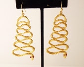 Vintage Gold Coiled Snake Dangling Earrings with Red Eyes 3 Inch Serpents