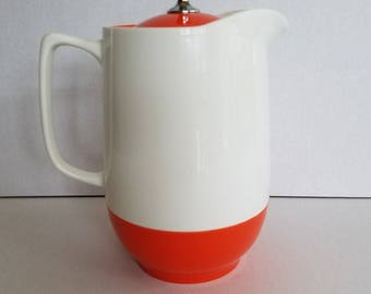 Vintage Plastic White and Orange Retro Thermos Insulated Ware Pitcher