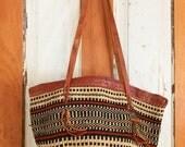 Vintage sisal bag, woven straw handbag, shoulder leather straps, black, red, boho, bohemian market tote