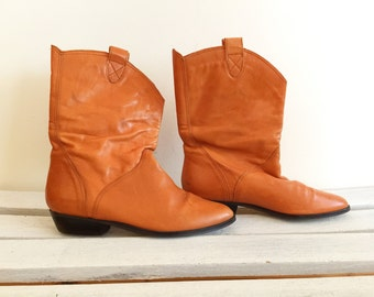 Vintage brown leather cowboy boots, cognac booties, southwestern, womens shoes size 7, 7 and a half
