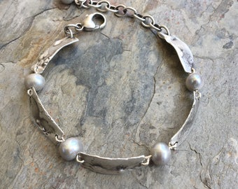 Molten Silver Link Bracelet with Grey Pearls. MADE TO ORDER. Handmade Jewelry for Charity. BS15
