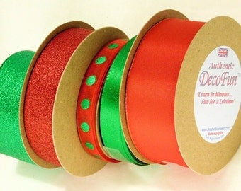 Red + Green Christmas Ribbon 75 ft asst Luxury Woven Edge Metallic, Sheer, Wired Made in England for Christmas crafts, food gift wrap floral
