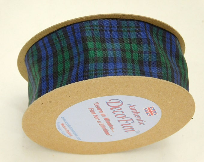 Black Watch Plaid Ribbon, 1-1/2 inch width Woven Edge Tartan, genuine Scottish plaid, Made in England, code RSP25