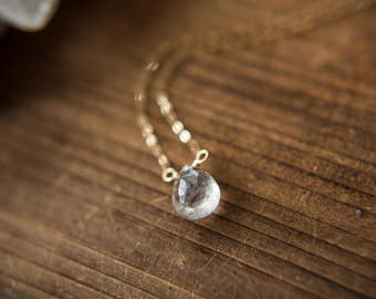 Tourmalinated Quartz Necklace // Tourmaline Quartz // Pendulum Jewelry // Crystal Necklace // Handmade Jewelry // Quartz Crystal Necklace