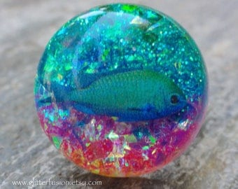Opalescent Fish Tank Resin Aquarium Ring, Under the Sea Glitter Fusion Statement Ring, Summer Beach Babe Unique Ring, Rainbow Sea Theme Ring