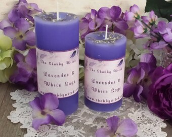 White Sage & Lavender, Cleansing Candles, Smudging Candles, Ritual Candles