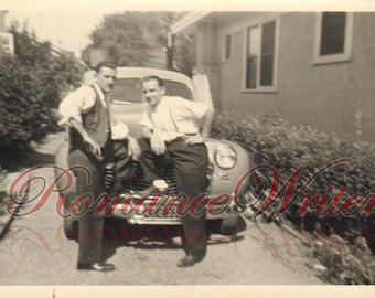 Tough Guys and Their Car Antique Vintage Photograph