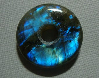 25mm, Labradorite, Gorgeous Firey Blue Gold Green Flashy Labradorite Smooth Donut PENDANT, D5