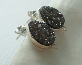 15x10mm, Natural black Tear Drop Druzy Drusy Crystal Sterling Silver Ear Post and ear nuts, s35