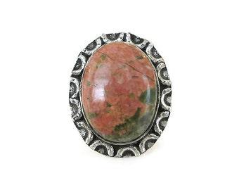 Vintage Unakite Jasper Stone Silver Ring - Pink Green Stone, Jasper Ring, Silver Ring, Vintage Ring, Vintage Jewelry, Size 6