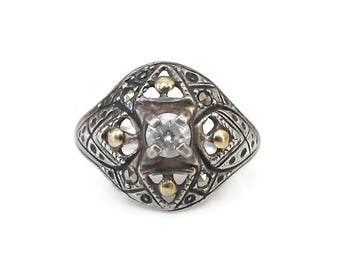 Art Deco Revival Sterling Silver Ring, Diamante Rhinestone, Marcasites, Gold Tone, Filigree Style, Vintage Ring, Size 6.75