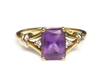 Vintage 14K Gold Diamond Amethyst Ring - Gemstone Jewelry, Vintage Ring, Vintage Jewelry, February Birthstone, Size 5.5