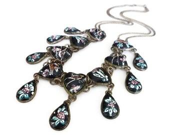 Persian Enamel Necklace, Hand Painted , Heart Shape, Teardrop Shape, Bird Flower, Black Enamel, Vintage Necklace,