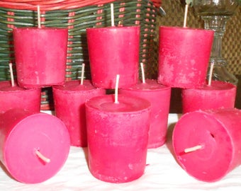 Ten, Beautiful Women's Type Scented Votive Candles, Soy, Handmade, Super Scented, Pink