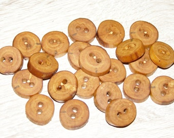 "Small 22 Handmade apple wood Tree Branch Buttons , accessories (0,59'' diameter x 0,16"" thick)"