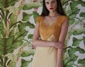 30s Silk Nightgown / Bias Cut Peignoir / Mustard Yellow Silk Satin / Night Gown / Wedding Night Lingerie / Bridal / Evening Gown / Thirties