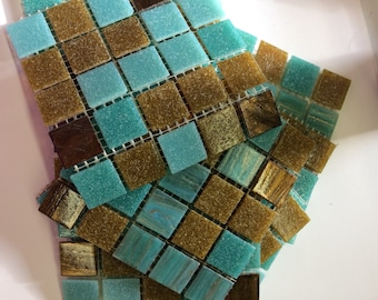 "Mixed 3/4"" Teal/Brown Glass Tile-25pc//Mosaic Tile// TealTile//browntile"