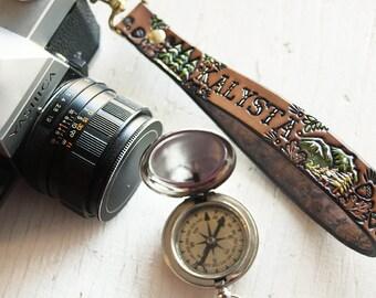 Custom Leather Camera Wrist Strap Or Key Ring - Woodland - Custom name - Swivel clip - Forest Trees Mountain Loop Wristlet - Mesa Dreams