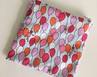 Snack & Sandwich Bag - Pink + Orange Balloons on Aqua
