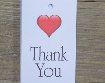 Thank You Wedding Favor Tags with a heart
