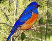 Blue Bird - Large Stained Glass Bird Suncatcher 51117