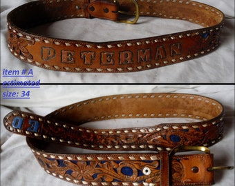 Choose Pick One ...Vintage Leather Western Embossed Tooled Belts Mens name Peterman Kenneth Paul Wendell BB110