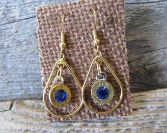 One pair 9mm Earrings with with blue crystal  - Ready to Ship Today