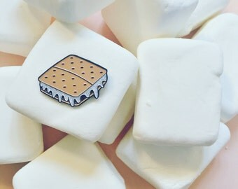 Smores Enamel Pin WITH GLITTER MARSHMELLOW!!