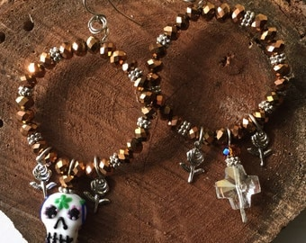 Dia de los Muertos Chandlier Earrings Wearable Art