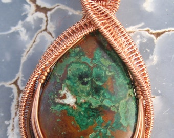 Tranquility/// Chrysocolla, Malachite, Cuprite, and Copper Wire Wrap Pendant, One of a Kind, Handmade, Art, Heady Wrap