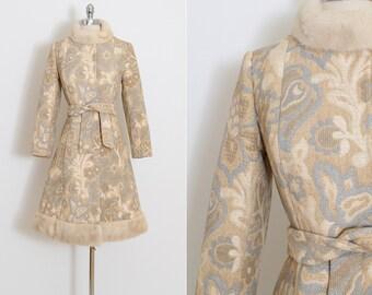 Vintage 60s Coat | 1960s jacket | wool mink fur trim princess | by Golet | xs/s | 5841
