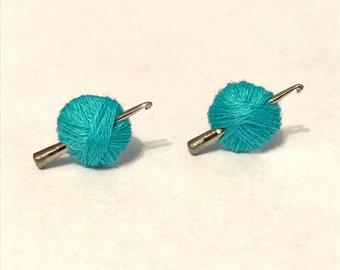 Crochet Hook Earrings, Turquoise Yarn Ball, Crochet Gift, Mini Hook, Crochet Jewelry, Silver Stud, Post, Blue, Green, White, Custom Color